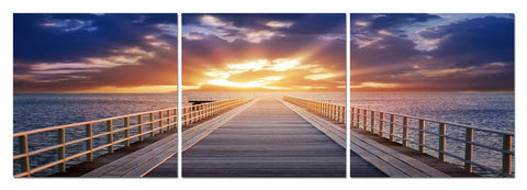 Baxton Studio Pier Sunrise Mounted Photography Print Triptych-Wall Decorations-HipModernHome