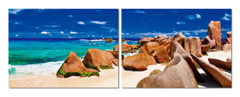 Baxton Studio Tasmanian Tide Mounted Photography Print Diptych-Wall Decorations-HipModernHome