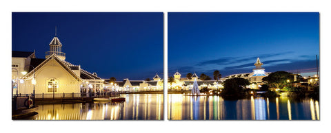 Baxton Studio Port Elizabeth Nightlife Mounted Photography Print Diptych-Wall Decorations-HipModernHome
