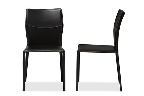Baxton Studio Asper Modern and Contemporary Black Leather Upholstered Dining Chair - Set of 2