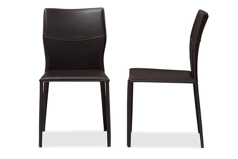 Baxton Studio Asper Modern and Contemporary Dark Brown Bonded Leather Upholstered Dining Chair - Set of 2