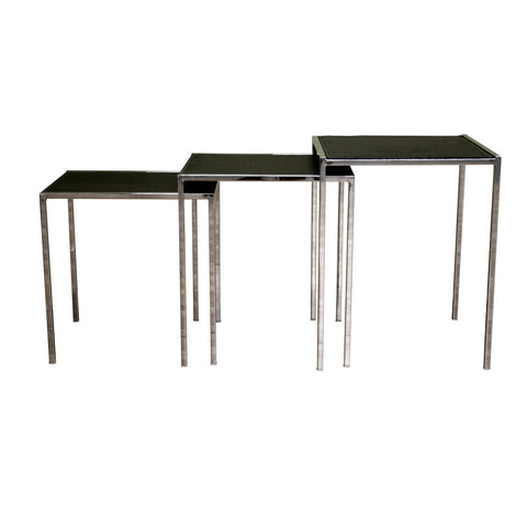 Baxton Studio Deo Black Leather Nesting Table-Tables-HipModernHome