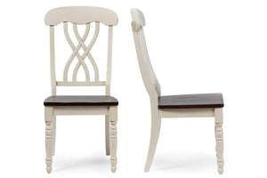 Baxton Studio Newman Oak Wood & White Dining Side Chair - Set of 2-Accent Chairs-HipModernHome