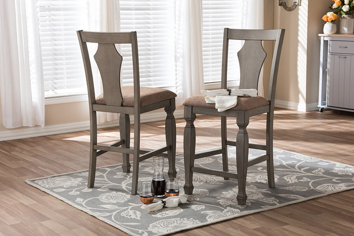 Baxton Studio Arianna Grey & Wheat Brown Upholstered Counter Stool - Set of 2