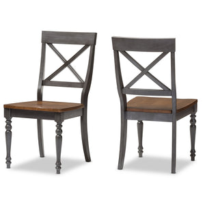 Baxton Studio Rosalind Dove Grey & Oak Brown Finishing Solid Wood X-back Dining Side Chair - Set of 2-Accent Chairs-HipModernHome
