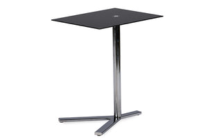 Baxton Studio Avolia Snack Table w/Black Tempered Glass-Tables-HipModernHome