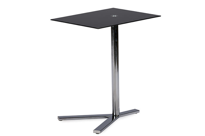 Baxton Studio Avolia Snack Table w/Black Tempered Glass