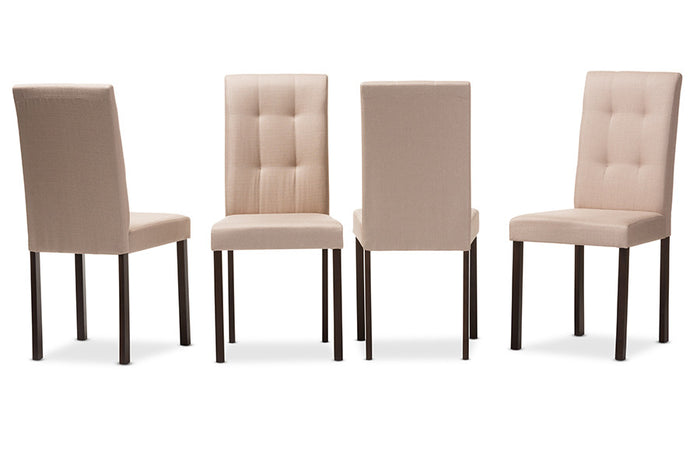 Baxton Studio Andrew Beige Upholstered Grid-tufting Dining Chair - Set of 4