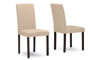 Baxton Studio Andrew Espresso Wood Beige Dining Chair - Set of 2-Dining Chairs-HipModernHome