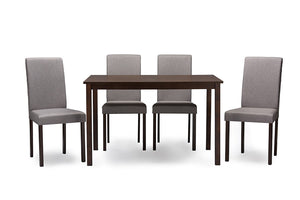 Baxton Studio Andrew Espresso Wood Grey 5PC Dining Set-Furniture Sets-HipModernHome