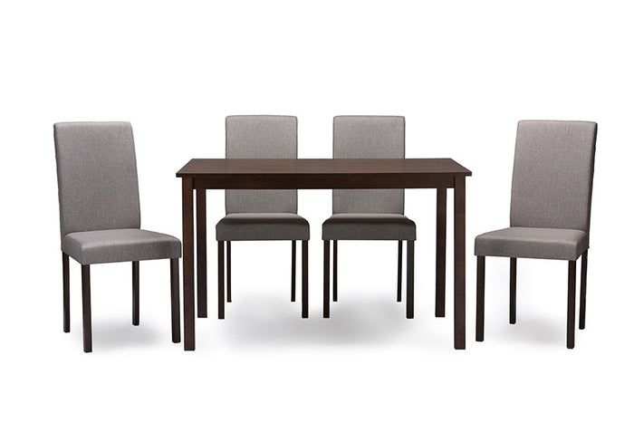 Baxton Studio Andrew Espresso Wood Grey 5PC Dining Set