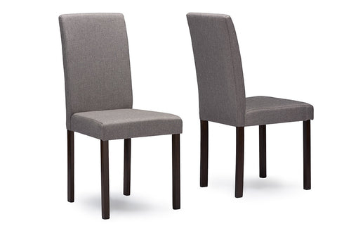 Baxton Studio Andrew Contemporary Espresso Wood Grey Fabric Dining Chair - Set of 2