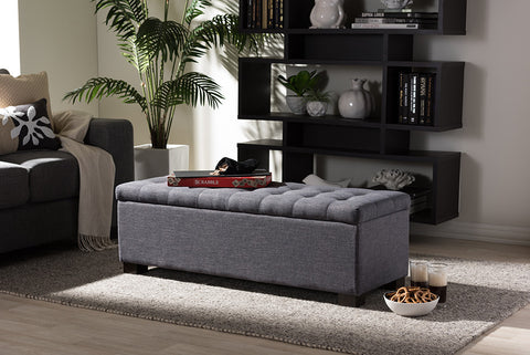 Baxton Studio Roanoke Modern and Contemporary Dark Grey Fabric Upholstered Grid-Tufting Storage Ottoman Bench