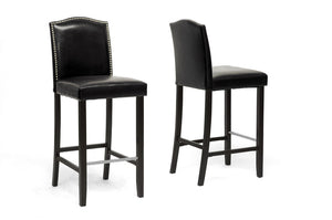 Baxton Studio Libra Black Modern Bar Stool with Nail Head Trim - Set of 2-Bar Stools-HipModernHome