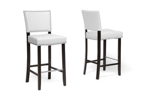 Baxton Studio Aries White Modern Bar Stool with Nail Head Trim - Set of 2-Bar Stools-HipModernHome