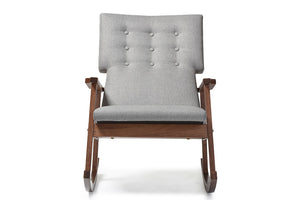 Baxton Studio Agatha Grey Upholstered Button-tufted Rocking Chair-Chairs-HipModernHome