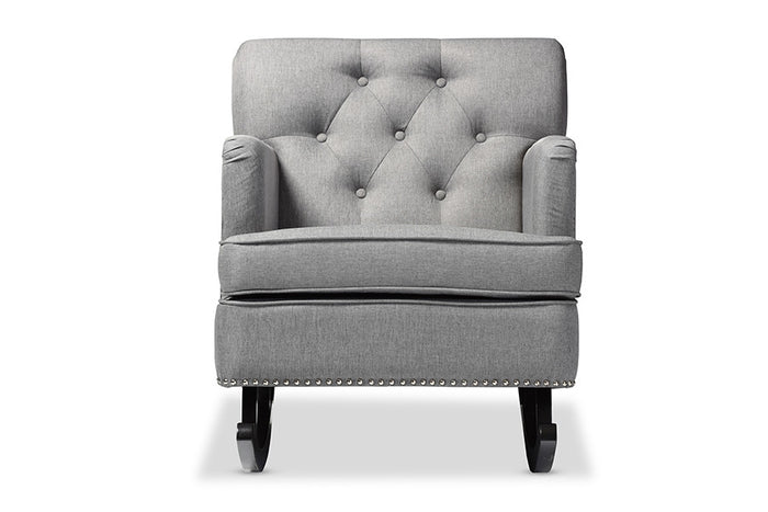 Baxton Studio Bethany Grey Upholstered Button-tufted Rocking Chair