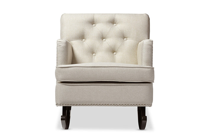 Baxton Studio Bethany Beige Upholstered Button-tufted Rocking Chair