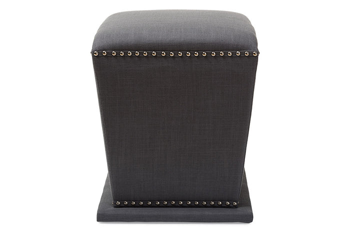 Baxton Studio Beverly Grey Upholstered Nail head Ottoman Stool