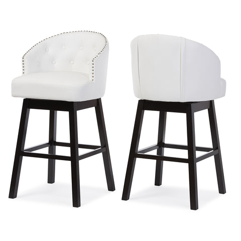 Baxton Studio Avril White Faux Leather Tufted Swivel Barstool w/Nail heads Trim - Set of 2-Bar Stools-HipModernHome