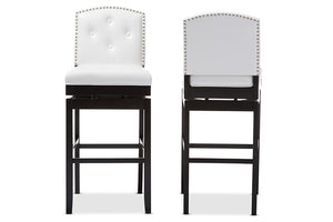 Baxton Studio Ginaro White Faux Leather Button-tufted Upholstered Swivel Bar Stool - Set of 2-Bar Stools-HipModernHome