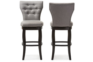 Baxton Studio Leonice Grey Upholstered Button-tufted 29-Inch Swivel Bar Stool - Set of 2-Bar Stools-HipModernHome