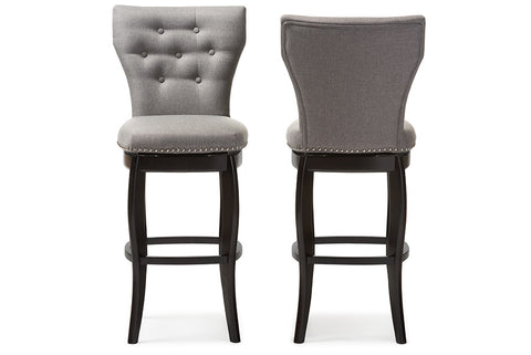 Baxton Studio Leonice Modern and Contemporary Grey Fabric Upholstered Button-tufted 29-Inch Swivel Bar Stool - Set of 2