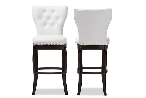 Baxton Studio Leonice Modern and Contemporary White Faux Leather Upholstered Button-tufted 29-Inch Swivel Bar Stool - Set of 2