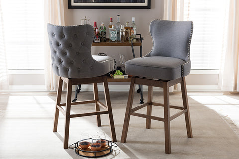 Baxton Studio Gradisca Modern and Contemporary Brown Wood Finishing and Grey Fabric Button-Tufted Upholstered Swivel Barstool - Set of 2