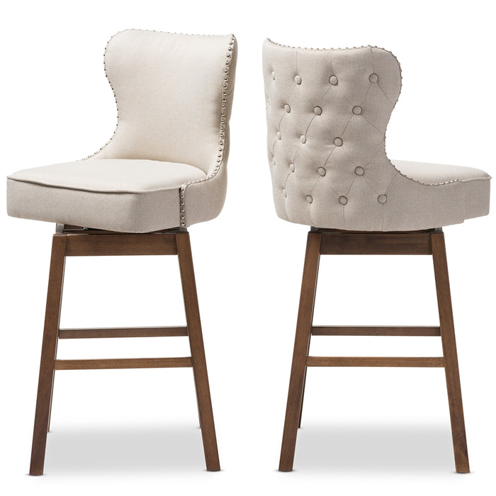 Baxton Studio Gradisca Brown & Light Beige Button-Tufted Barstool - Set of 2