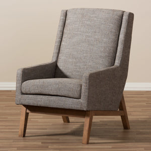 Baxton Studio Aberdeen Walnut Wood & Gravel Lounge Chair-Chairs-HipModernHome