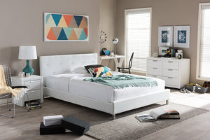 Baxton Studio Barbara White Bed with Crystal Button Tufting (King Size) - White-Beds-HipModernHome