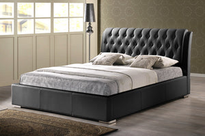 Baxton Studio Bianca Black Modern Bed with Tufted Headboard - Full Size - Black-Beds-HipModernHome