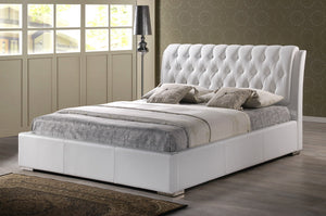 Baxton Studio Bianca White Bed with Tufted Headboard (King Size) - White-Beds-HipModernHome