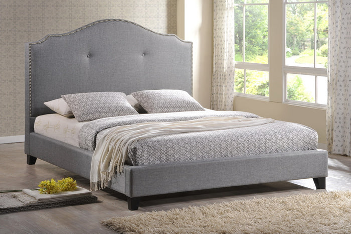 Baxton Studio Marsha Gray Bed with Upholstered Headboard - Full Size - Grey