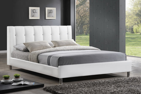 Baxton Studio Vino White Bed with Upholstered Headboard - Full Size - White-Beds-HipModernHome