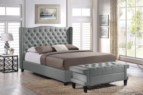 Baxton Studio Norwich Grey Linen Modern Platform Bed – King Size With Bench