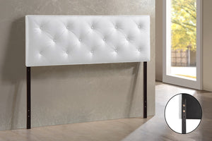 Baxton Studio Baltimore Full White Faux Leather Upholstered Headboard-Headboards-HipModernHome