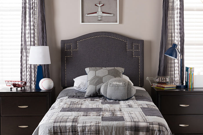 Baxton Studio Aubrey Dark Grey Upholstered Twin Size Headboard