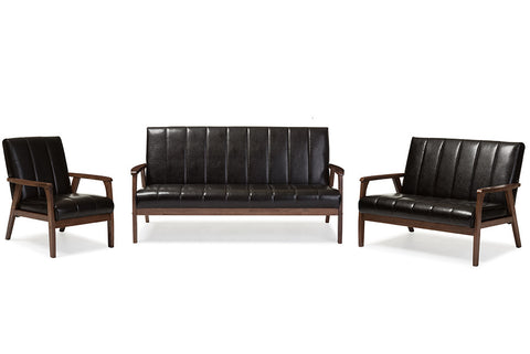 Baxton Studio Nikko Mid-century Modern Scandinavian Style Dark Brown Faux Leather 3 Pieces Living Room Sets