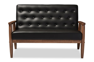 Baxton Studio Sorrento Black Faux Leather Upholstered Wooden 2-seater Loveseat-Sofas-HipModernHome