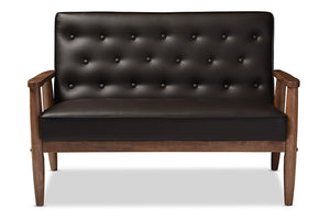 Baxton Studio Sorrento Brown Faux Leather Upholstered Wooden 2-seater Loveseat-Sofas-HipModernHome