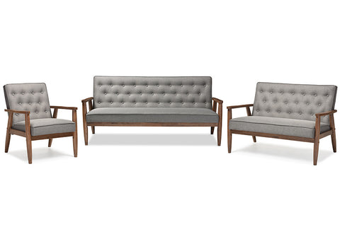 Baxton Studio Sorrento Mid-century Retro Modern Grey Fabric  Upholstered Wooden 3 Piece Living room Set