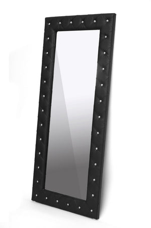 Baxton Studio Stella Crystal Tufted Modern Black Faux Leather Floor Mirror-Mirrors-HipModernHome