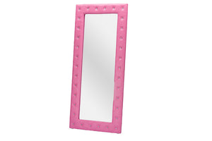 Baxton Studio Stella Crystal Tufted Pink Faux Leather Floor Mirror-Mirrors-HipModernHome