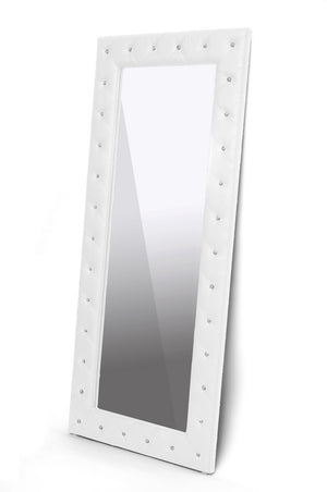 Baxton Studio Stella Crystal Tufted Modern White Faux Leather Floor Mirror-Mirrors-HipModernHome