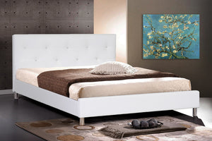 Baxton Studio Barbara White Modern Bed with Crystal Button Tufting - Full Size - White-Beds-HipModernHome