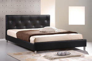 Baxton Studio Barbara Black Modern Bed with Crystal Button Tufting - Full Size - Black-Beds-HipModernHome