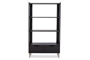 Baxton Studio Kalien Brown Wood Leaning Bookcase w/Display Shelves & Two Drawers-Bookcases-HipModernHome