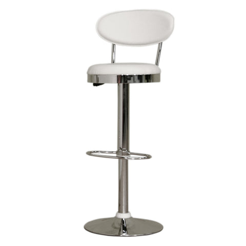 Baxton Studio Achilla White Adjustable Barstool-Bar Stools-HipModernHome
